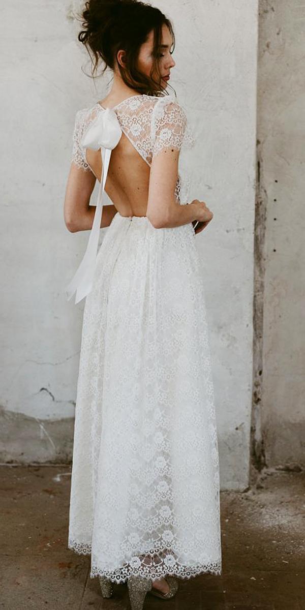 nadia manzato wedding dresses oen back with bow cap sleeves full lace 2018
