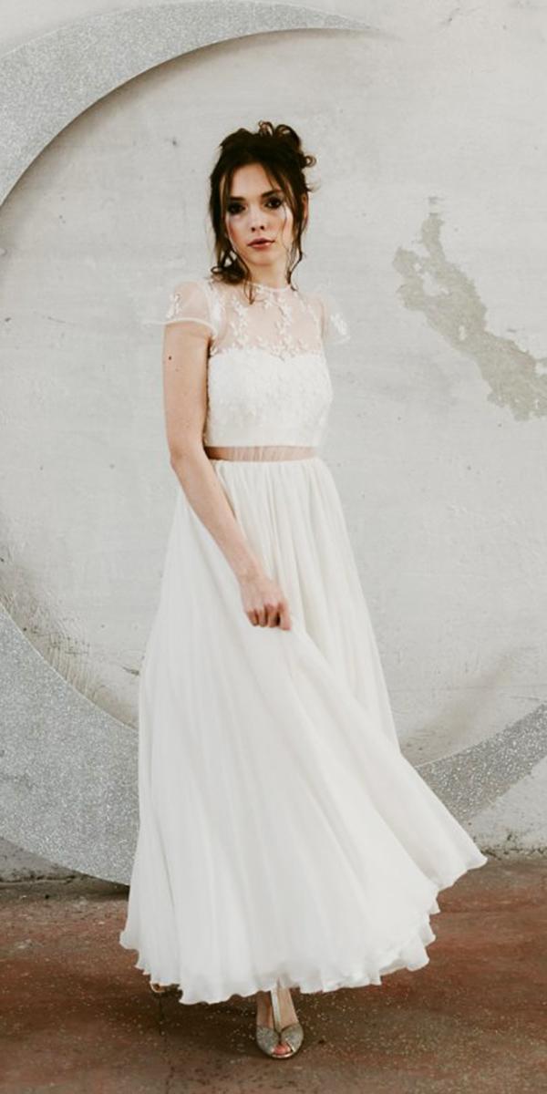nadia manzato wedding dresses with cap sleeves illusion neckline detached skirt floral embellishment