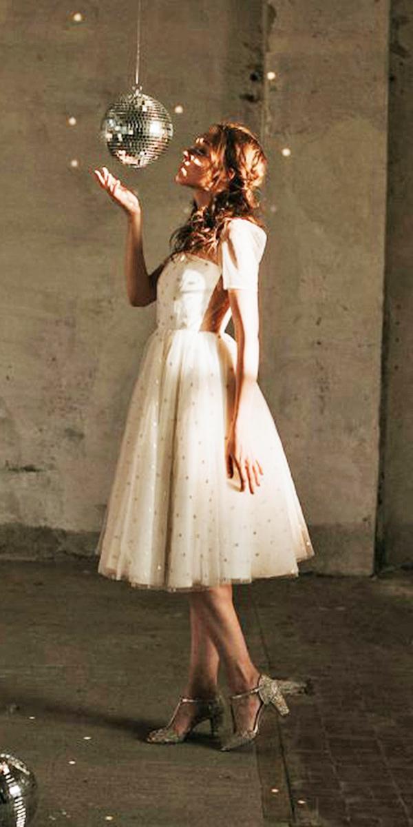 nadia manzato wedding dresses with cap sleeves tea lenght illusion back polka dot 2018