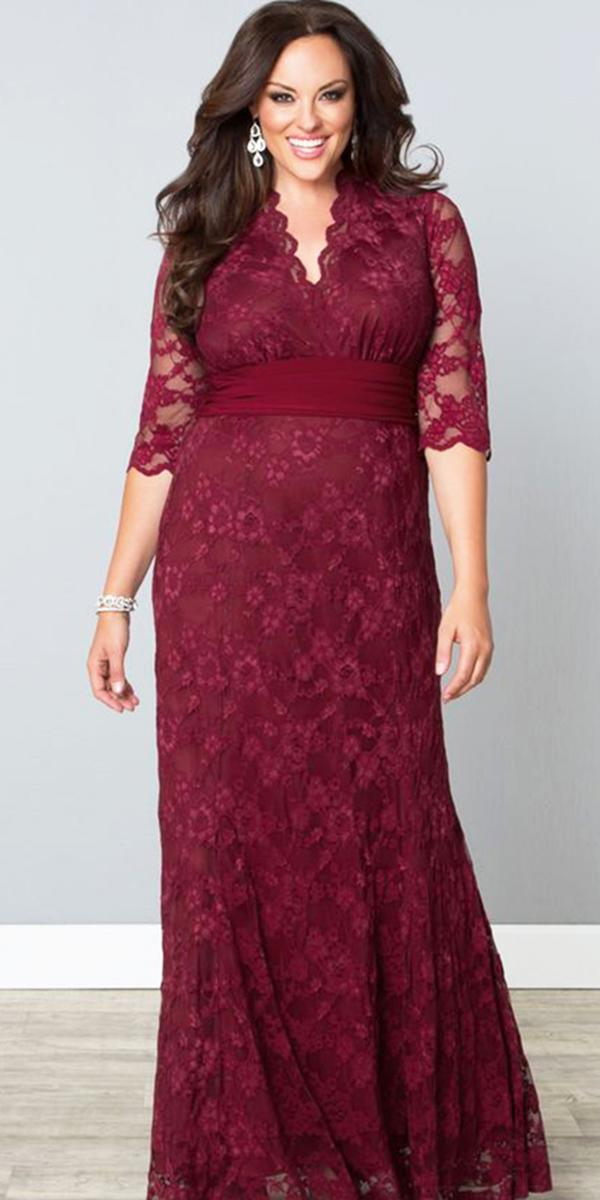 plus size mother of the bride dresses long with three quote sleeves burgundy kiyonna
