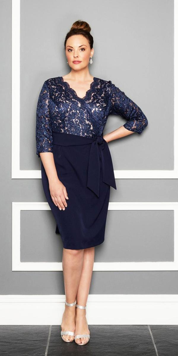 plus size mother of the bride dresses with three qoute sleeves lace navy alex evenings