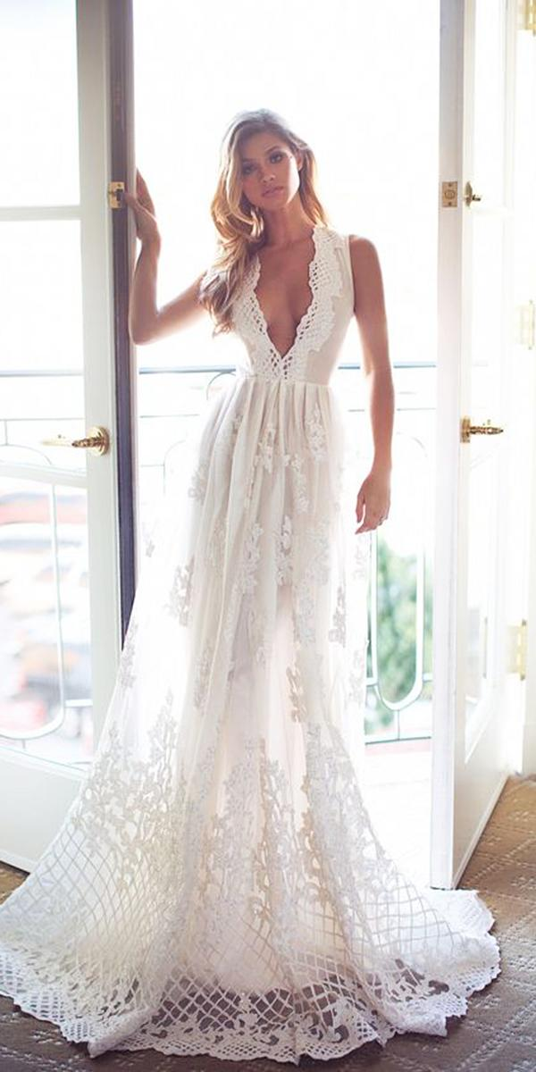 romantic bridal gowns a line deep v neckline vintage lurelly