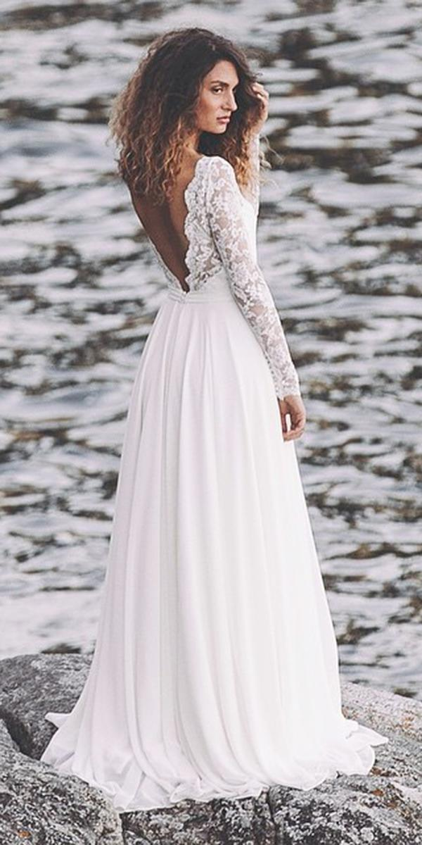 24 romantic bridal gowns perfect for any love story for Long straight wedding dresses