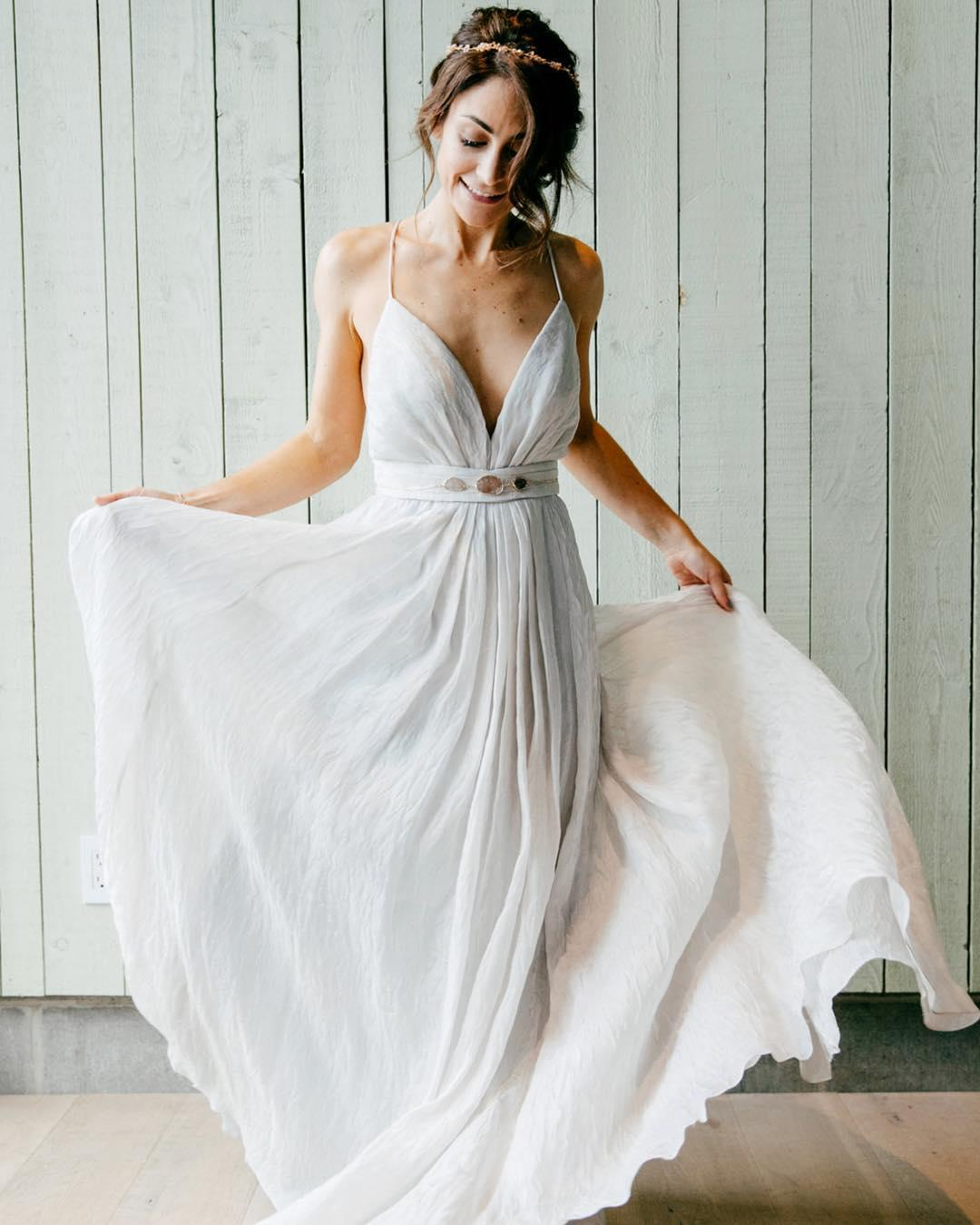 Romantic bridal gowns a line with spaghetti straps simple for Simple romantic wedding dresses