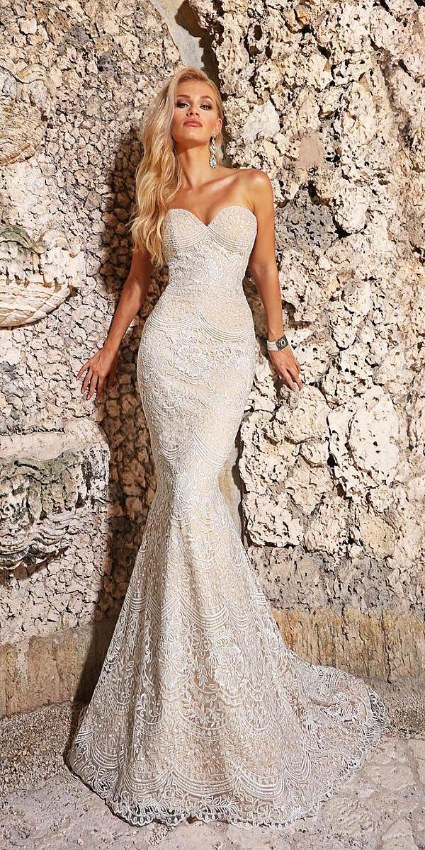 mermaid sweetheart lace embroidered blush romantic bridal gowns ashley justin