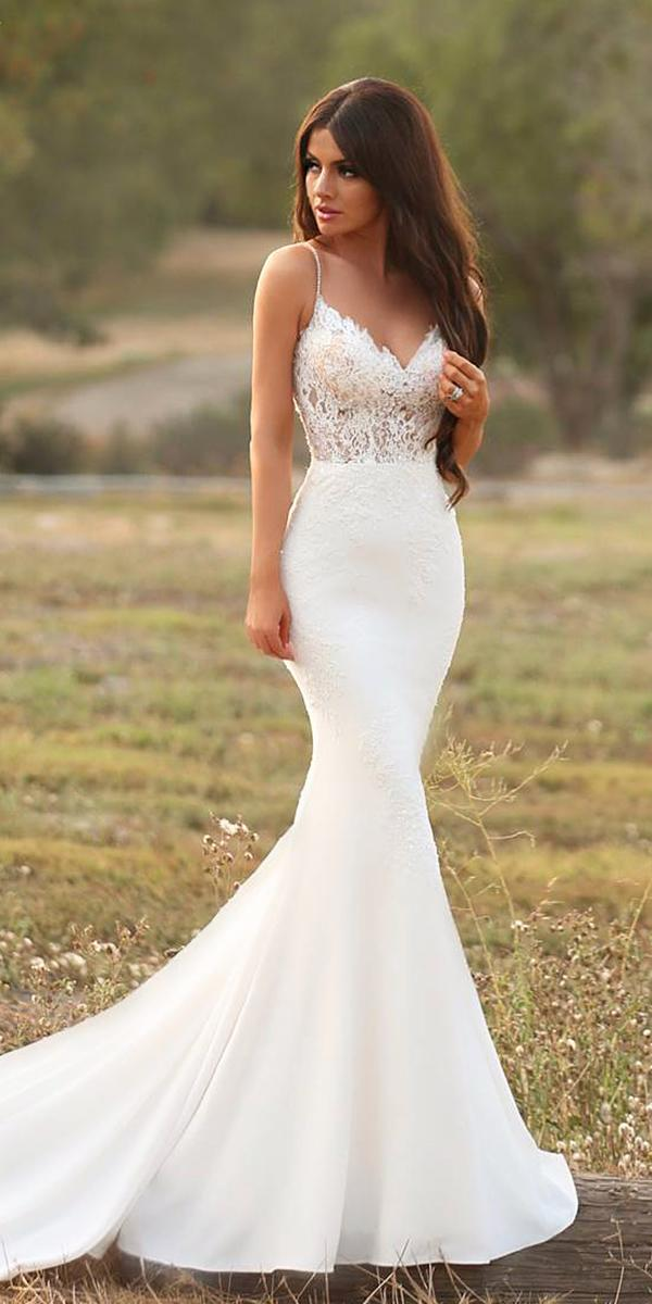 mermaid with straps satin skirt romantic bridal gowns enzoani