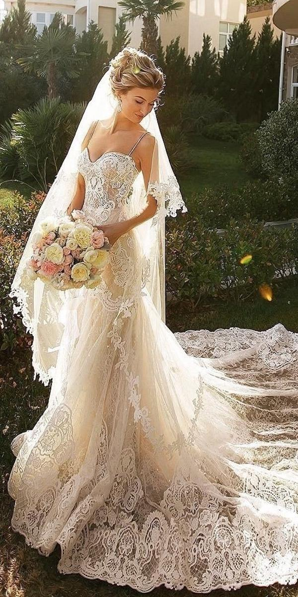 lace sheath romantic bridal gowns with straps full embllishment beige crystal design