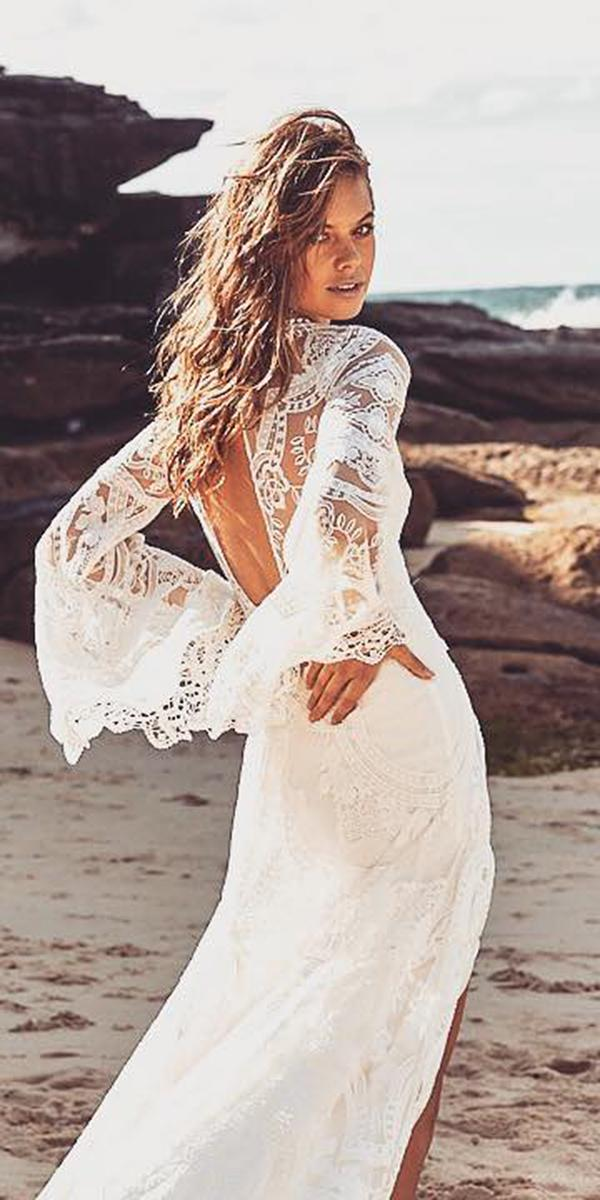 romantic bridal gowns with long flowly sleeves open back boho rue de seine bridal
