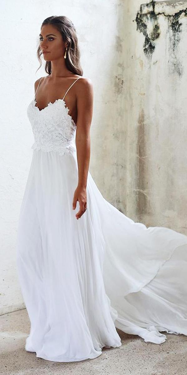 beach lace top with spaghetti straps chiffon romantic bridal gowns grace loves lace