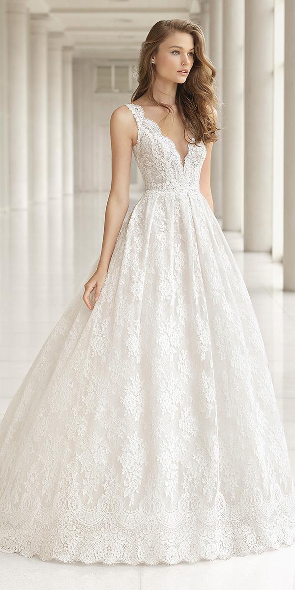 rosa clara wedding dresses 2018 a line v neckline lace embellisment- romantic