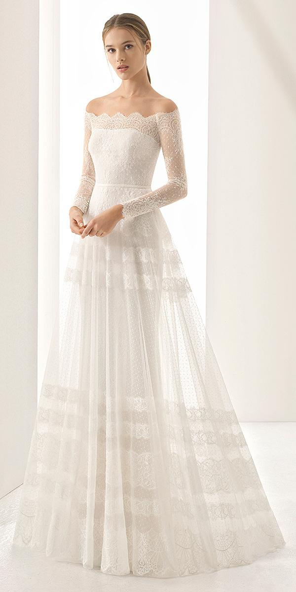rosa clara wedding dresses 2018 off the shoulder sleeves ethereal skirt lace embellishment