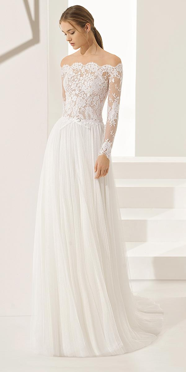 rosa clara wedding dresses 2018 off the shouldersleeves lace top chiffon skirt