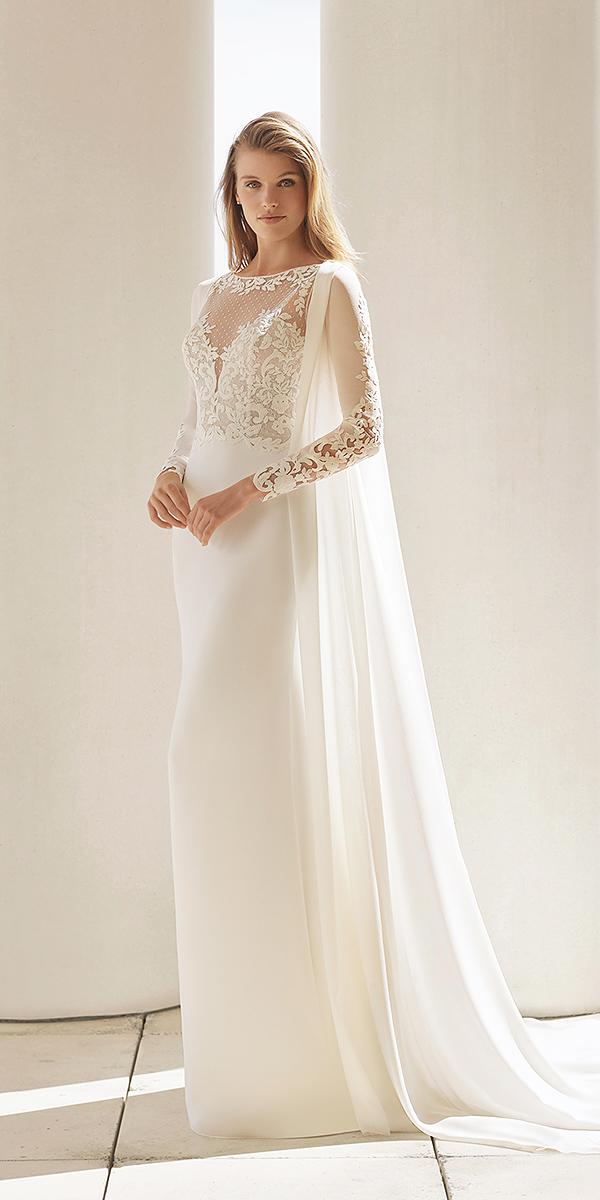 rosa clara wedding dresses 2018 sheath with long sleeves illsion neckline with cape