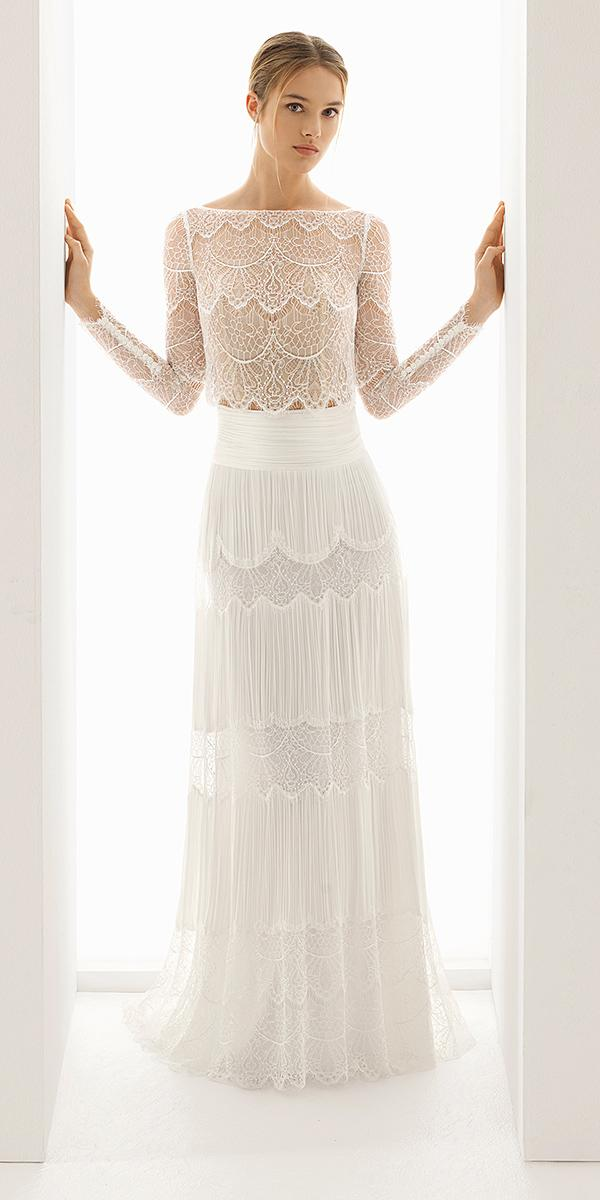rosa clara wedding dresses 2018 with sleeves detached skirt full lace with buttons