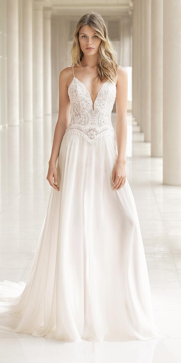 rosa clara wedding dresses 2018 with spaghetti straps v neckline lace top