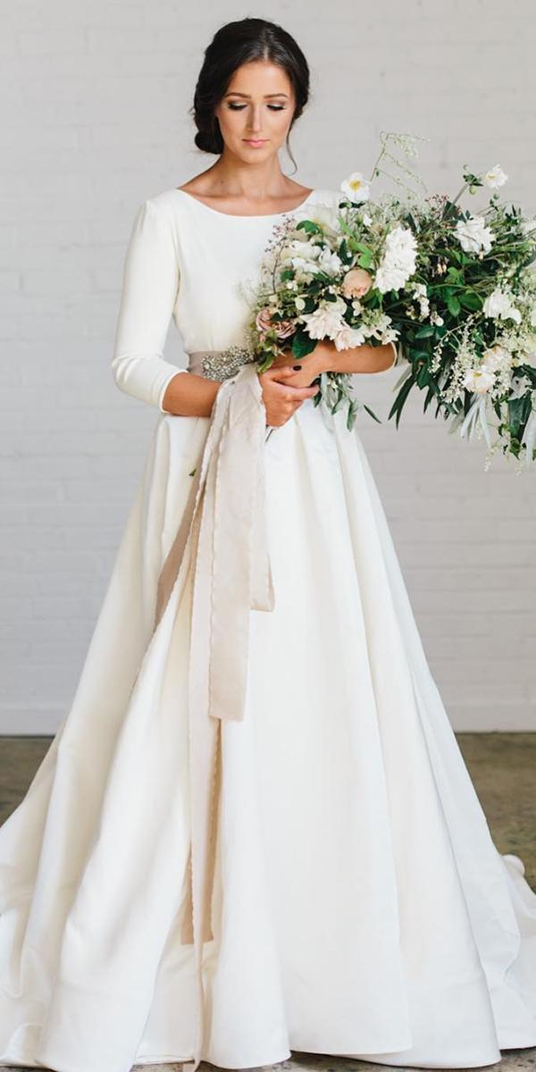 simple wedding dresses with sleeves a line classy chantel lauren designs