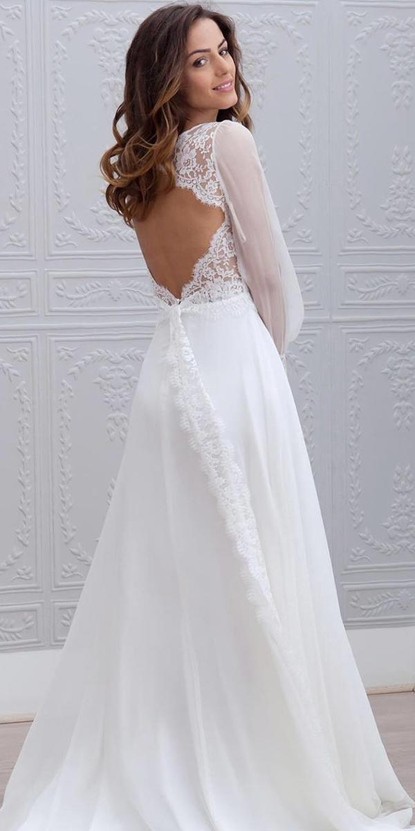 simple wedding dresses with sleeves a line lace open back marie laporte creatrice