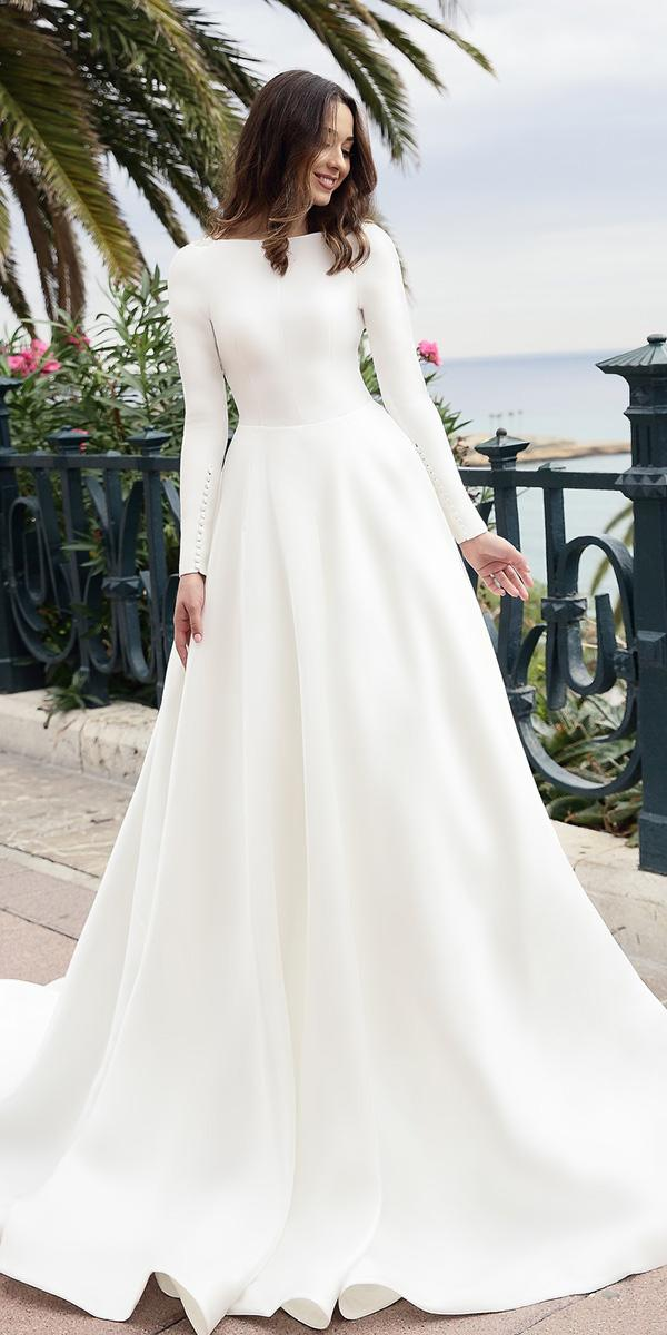 simple wedding dresses with sleeves a line with buttons tina ivashchenko