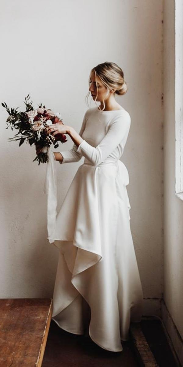 simple wedding dresses with sleeves high low classy olivia strohm
