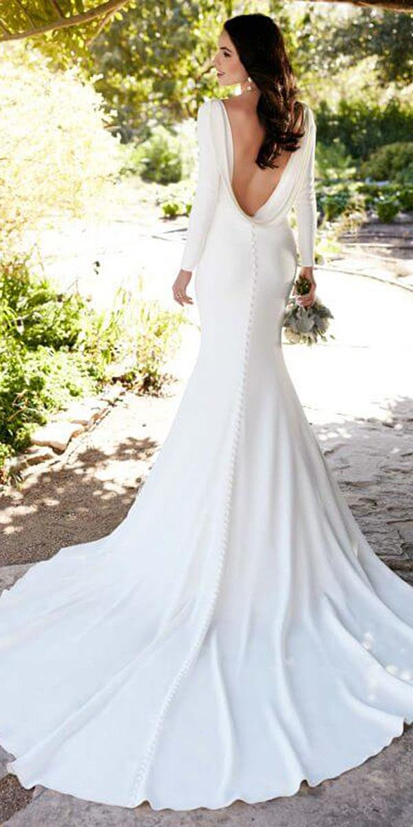 simple wedding dresses with sleeves sheath with long sleeves low back martina liana