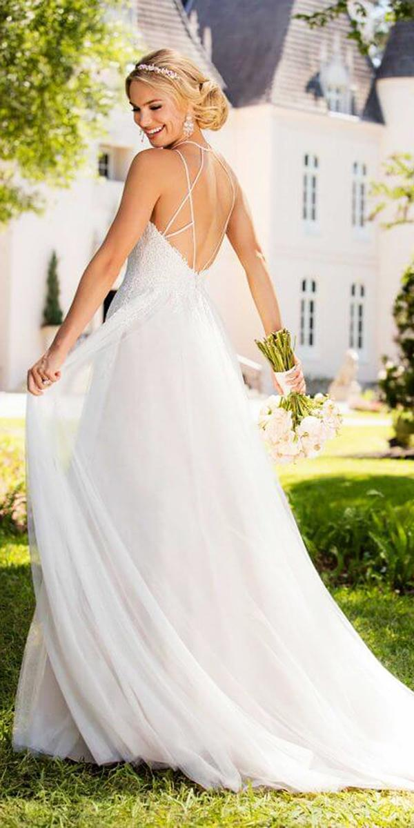 stella york wedding dresses a line backless chiffon skirt