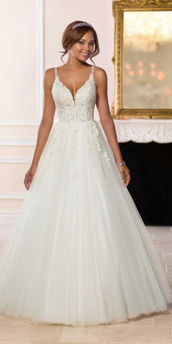 stella york wedding dresses a line with straps lace top