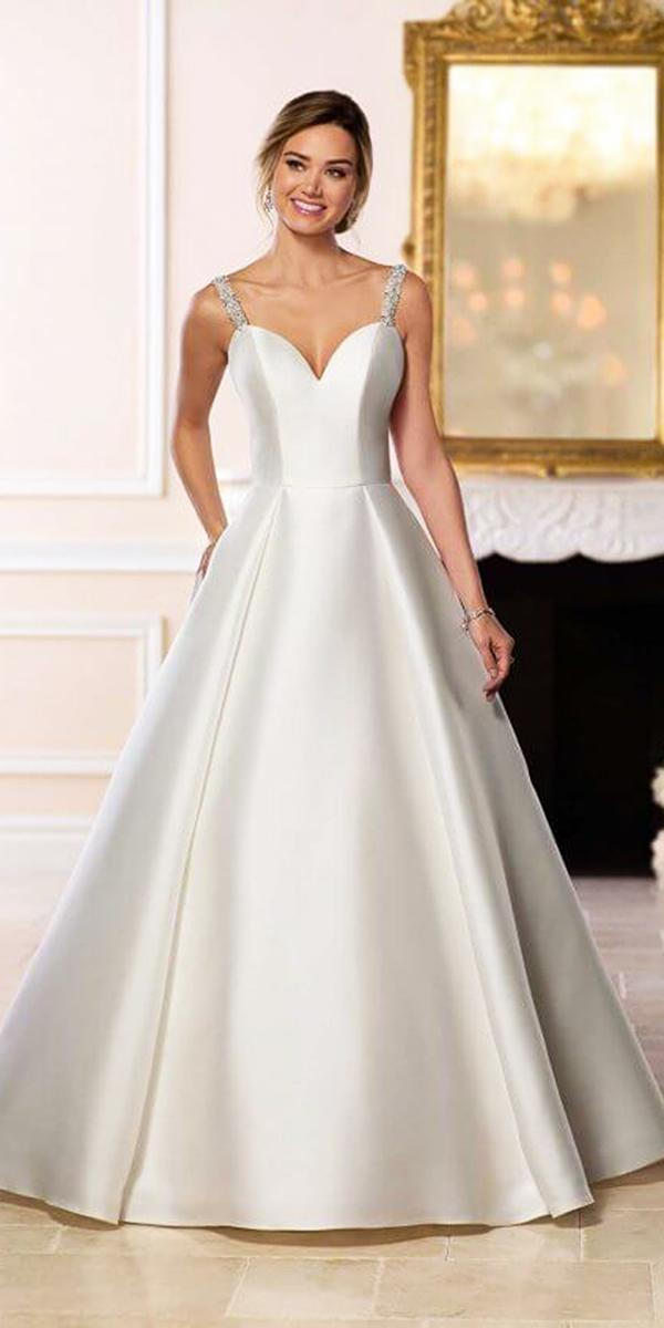stella york wedding dresses a line with straps sweetheart satin simple