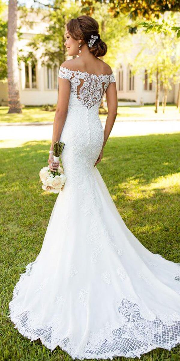 stella york wedding dresses mermaid off the shoulder with buttons lace embroidered