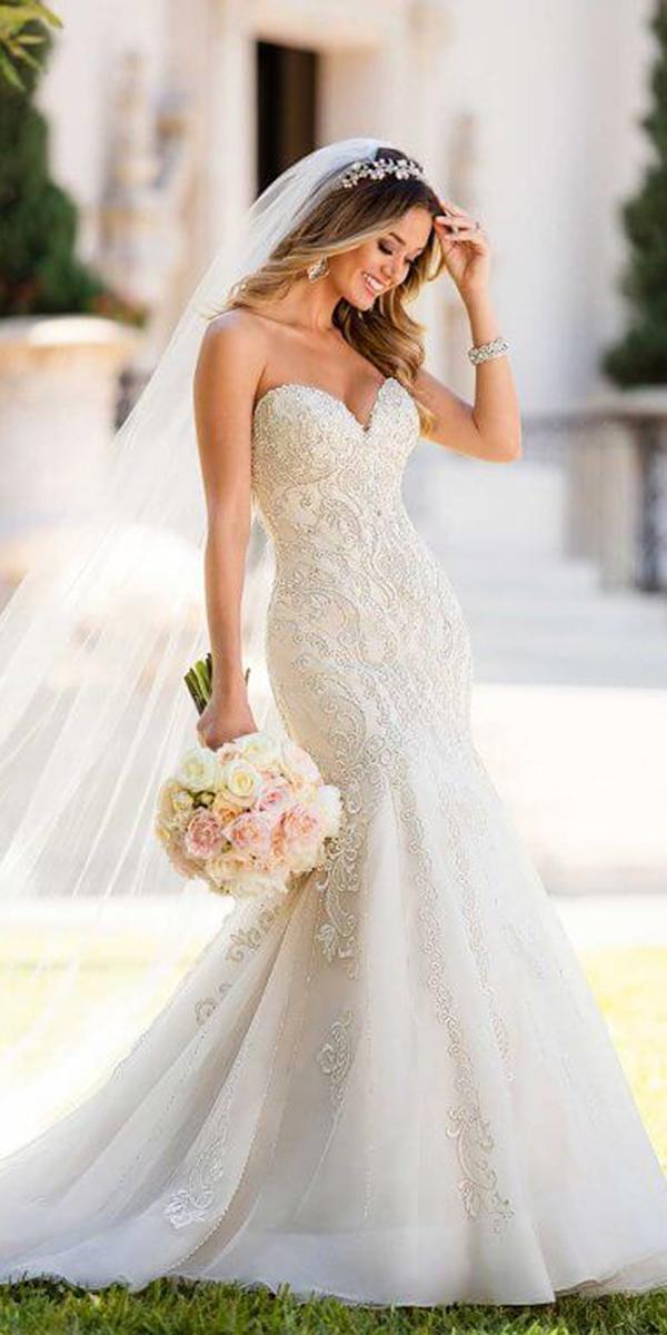 stella york wedding dresses mermaid sweetheart lace beaded