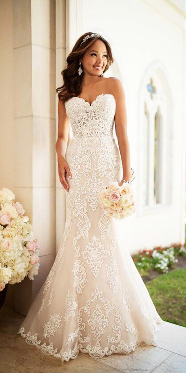 stella york wedding dresses mermaid sweetheart lace embroidered