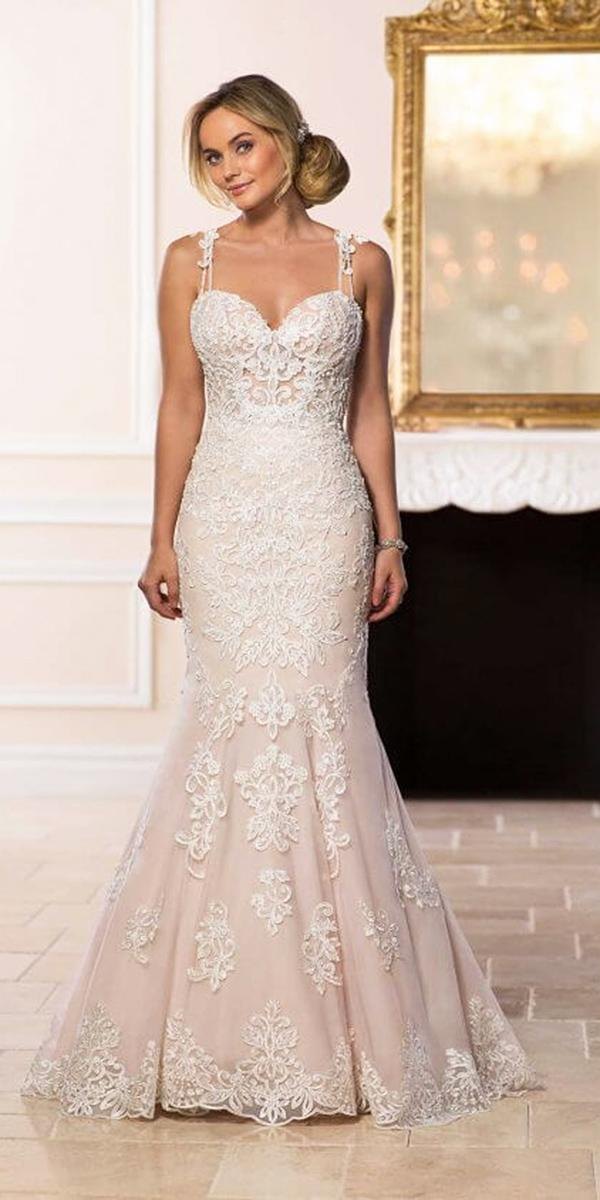 stella york wedding dresses mermaid with straps lace embroidered