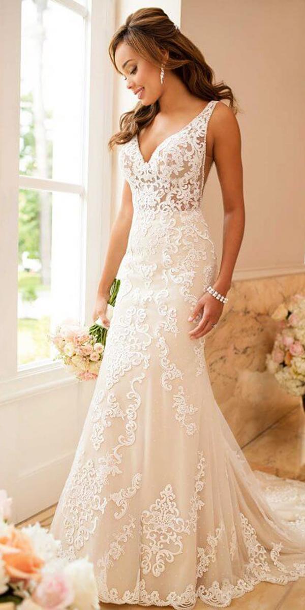 stella york wedding dresses sheath v neckline lace embellishment