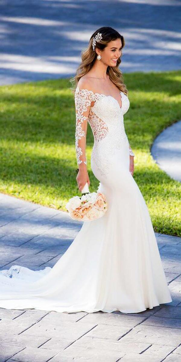 stella york wedding dresses trumpet with illusion lace sleeves sweetheart