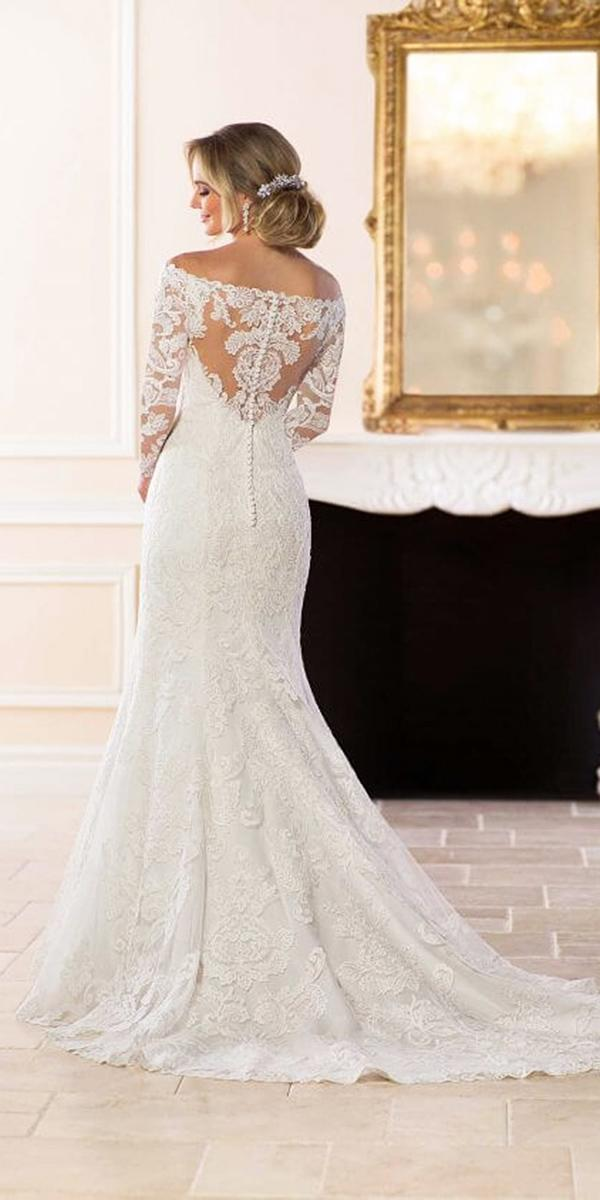 stella york wedding dresses trumpet with sleeves illusion lace backless buttons