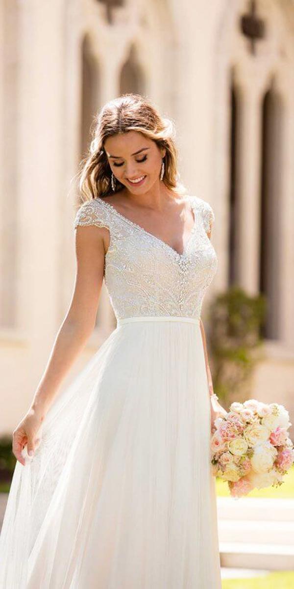 stella york wedding dresses with cap sleeves beaded chiffon
