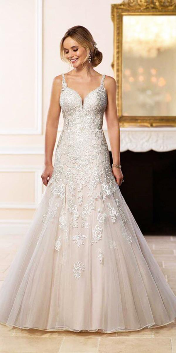 stella york wedding dresses with spaghetti straps lace embroidered