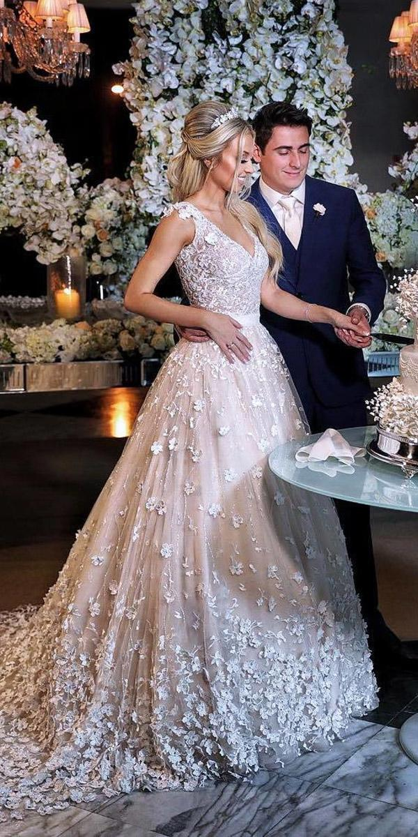 top wedding dresses a line v neckline 3d floral sleeveless dani messih