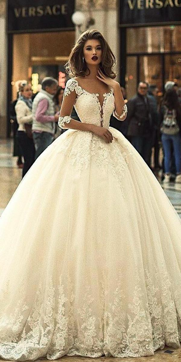 top wedding dresses ball gown with illusion sleeves deep v neckline vogues sposa