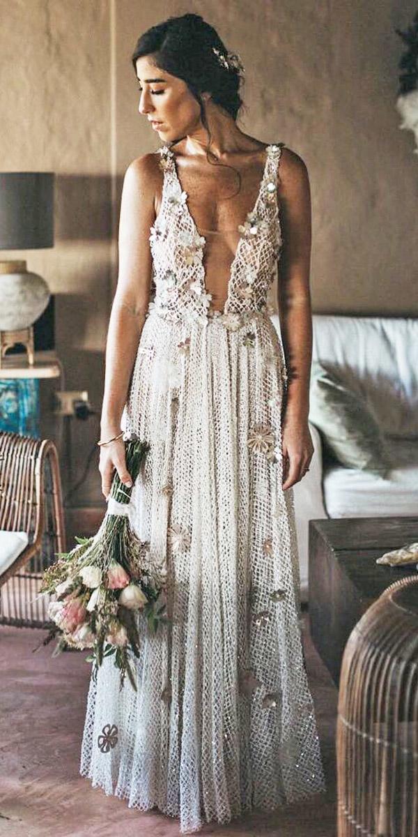 boho wedding dresses with deep v neckline floral appliques serafin castillo