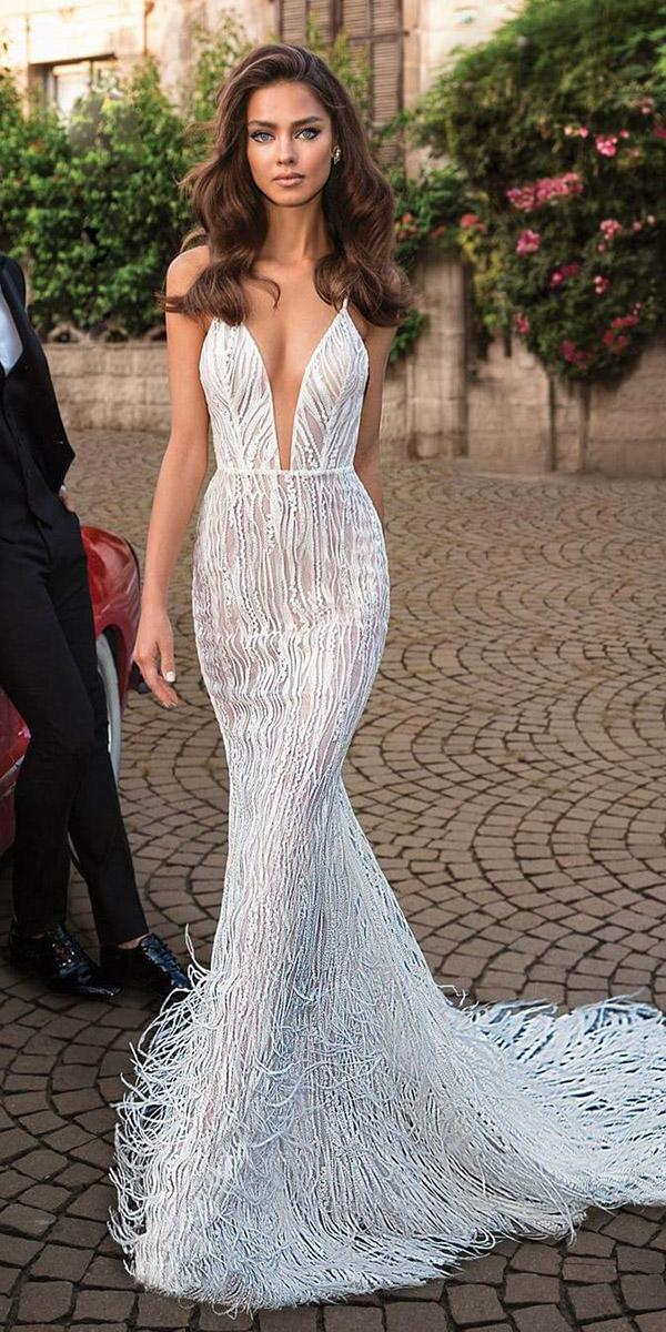 top wedding dresses sheath plunging neckline with straps feather sexy elihav sasson