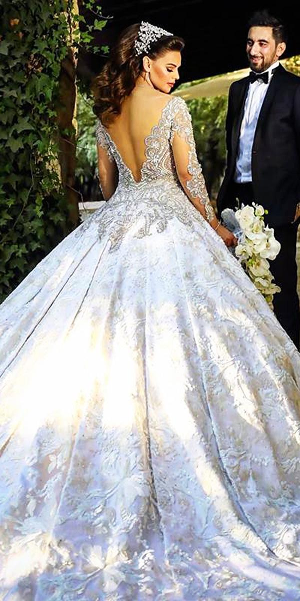 long sleeve illusion back ball gown wedding dresses walid shehab