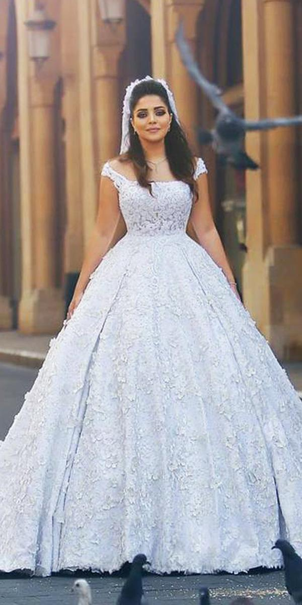 walid shehab wedding dresses ball gown floral appliques off the shoulder