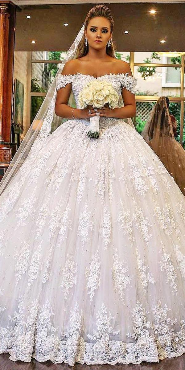 walid shehab wedding dresses ball gown off the shoulder full lace
