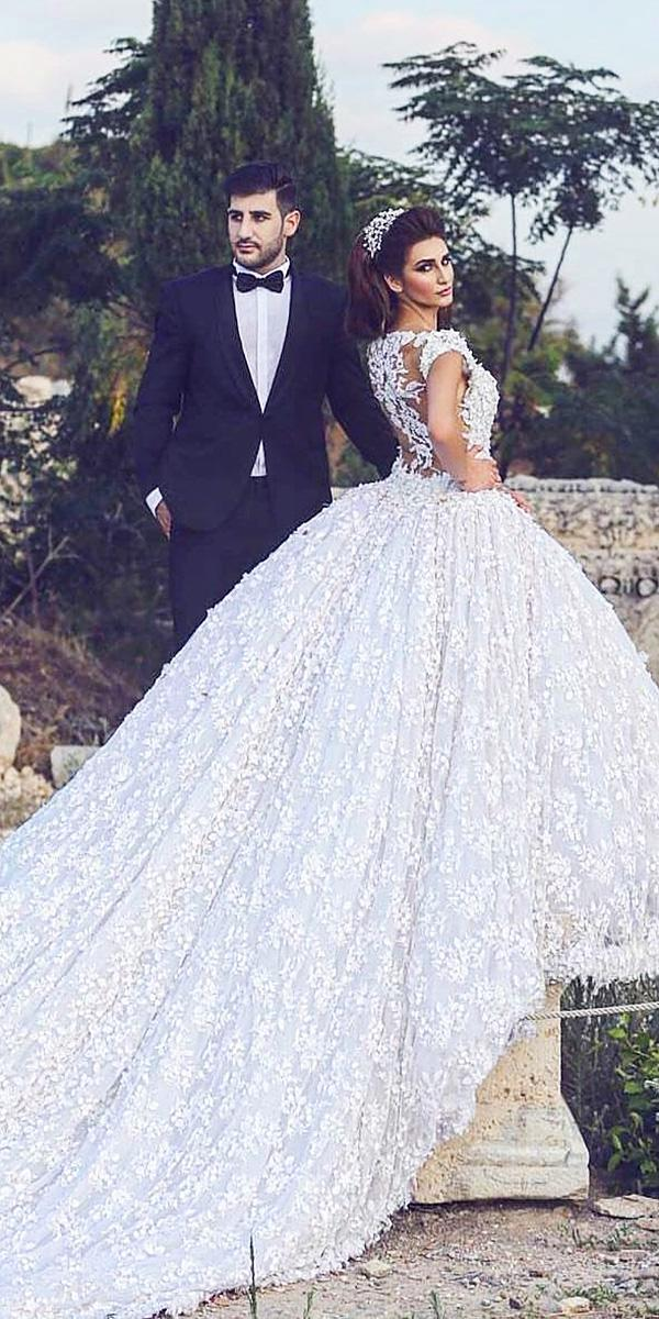 walid shehab wedding dresses ball gown with cap sleeves tatto effect back lace floral embellishment