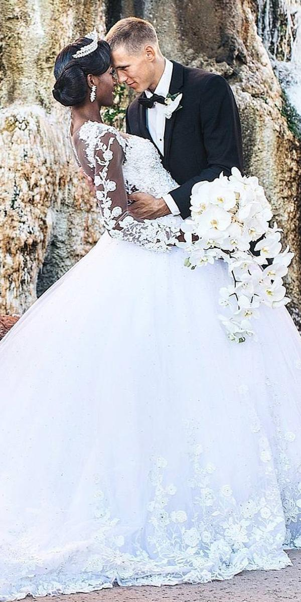 walid shehab wedding dresses ball gown with long sleeves floral appliques