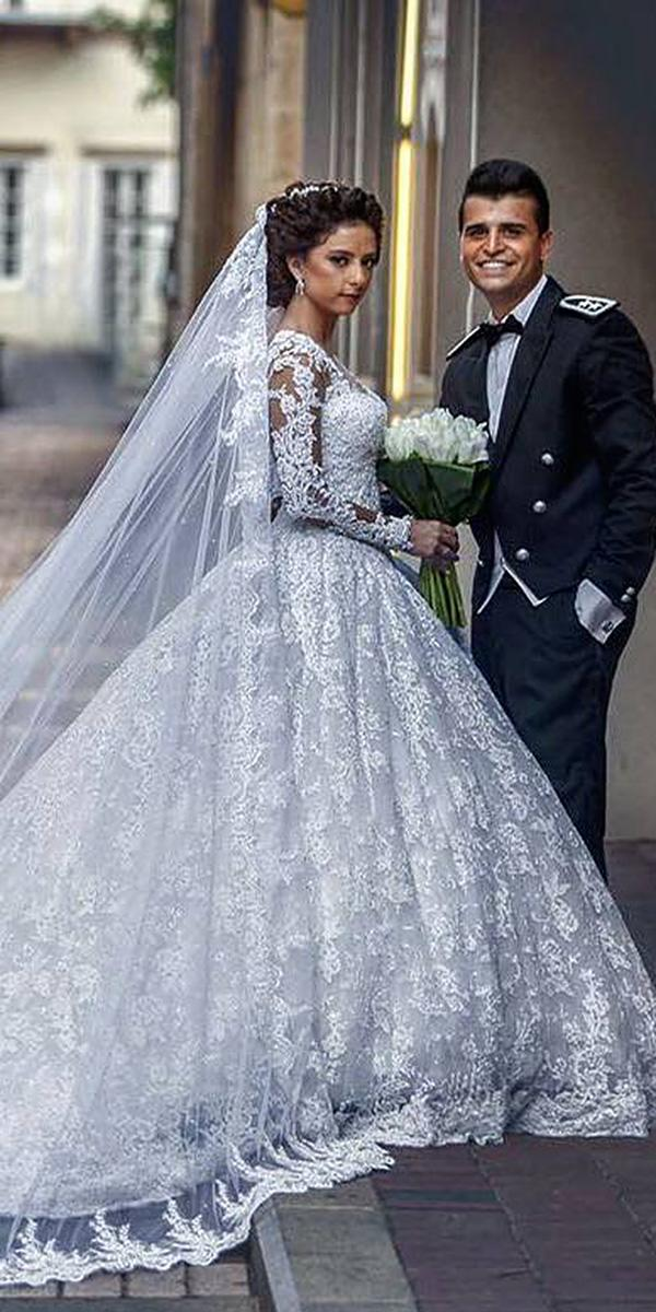 ball gown long sleeve full lace embroidered wedding dresses walid shehab