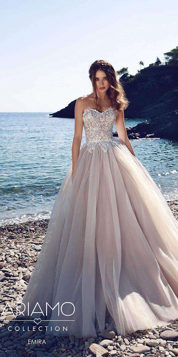 ariamo wedding dresses a line floral lace top purple color tulle skirt 2018