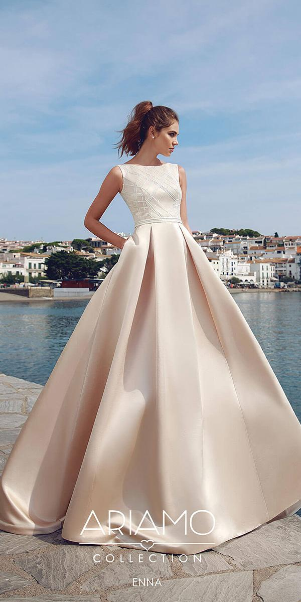 ariamo wedding dresses a line jewel neckline sleeveless blush simple