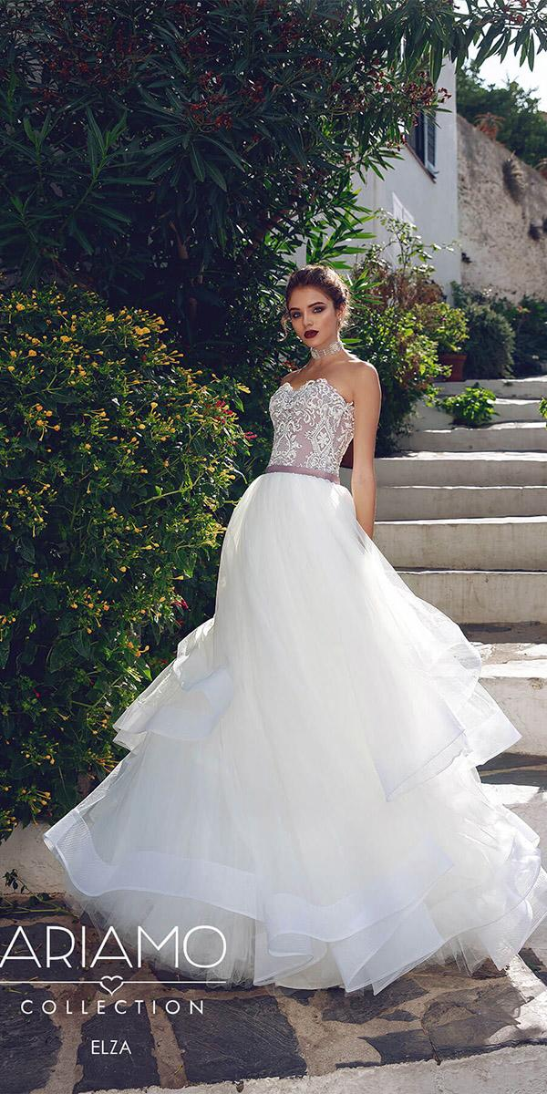 ariamo wedding dresses a line lace sweetheart top tulle skirt