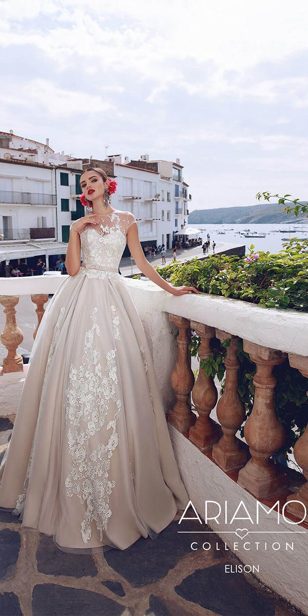 ariamo wedding dresses a line with cap sleeves illusion neckline floral embroidered